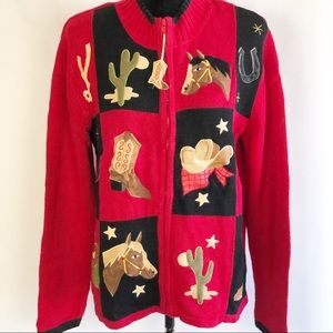 VTG Western Sweater Front Zipper Red Size M